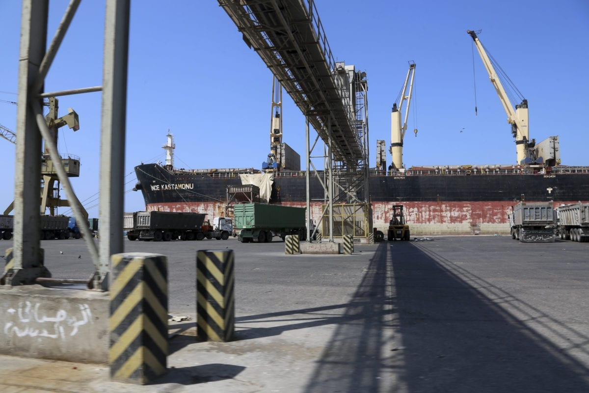 A picture taken on November 22, 2018, shows a partial view of the port of the Red Sea city of Hudaydah [STR / AFP /Getty Images]