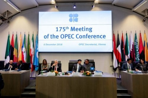 OPEC President and Energy Minister of the United Arab Emirates Suhail al-Mazrouei (4th R) opens the 175th OPEC Conference of Organization of the Petroleum Exporting Countries (OPEC) in Vienna, Austria on December 6, 2018 [JOE KLAMAR/AFP/Getty Images]