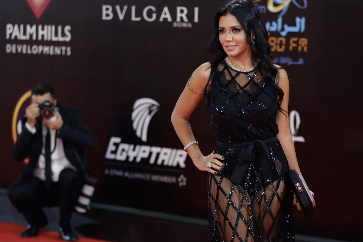 Egyptian actress Rania Youssef poses on the red carpet at the closing ceremony of the 40th edition of the Cairo International Film Festival (CIFF) at the Cairo Opera House in the Egyptian capital on November 29, 2018. - (Photo by SUHAIL SALEH/AFP/Getty Images)