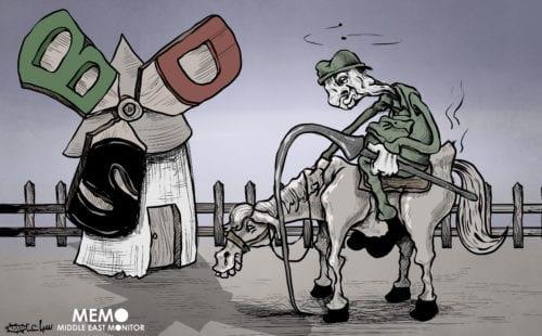 Powerless Israel facing BDS - Cartoon [Sabaaneh/MiddleEastMonitor]