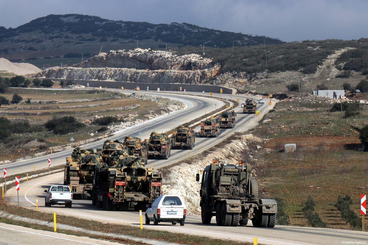 Turkish Armed Forces' armoured military vehicles, personnel carriers and tanks are being dispatched from Hatay to support the units at the Syrian's Idlib border, in Hatay, Turkey on January 11, 2019 [Erdal Türkoğlu / Anadolu Agency]