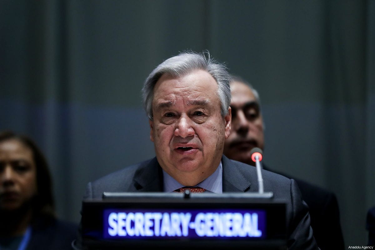 Secretary-General of the United Nations, Antonio Guterres delivers a speech during the Handover Ceremony of the Chairmanship of the Group of 77, from the Egypt to Palestine at the United Nations Headquarter in New York, United States on 15 January 2018 [Atılgan Özdil / Anadolu Agency]