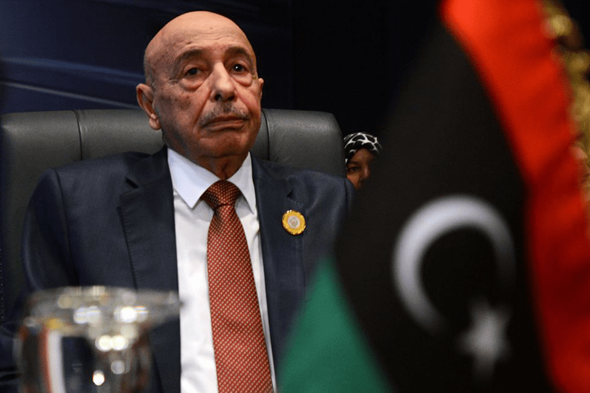 President of the Libyan House of Representative Aguila Saleh attends the closing session of the Arab League summit in the Egyptian Red Sea resort of Sharm El-Sheikh on 29 March, 2015 [AFP PHOTO/MOHAMED EL-SHAHED]
