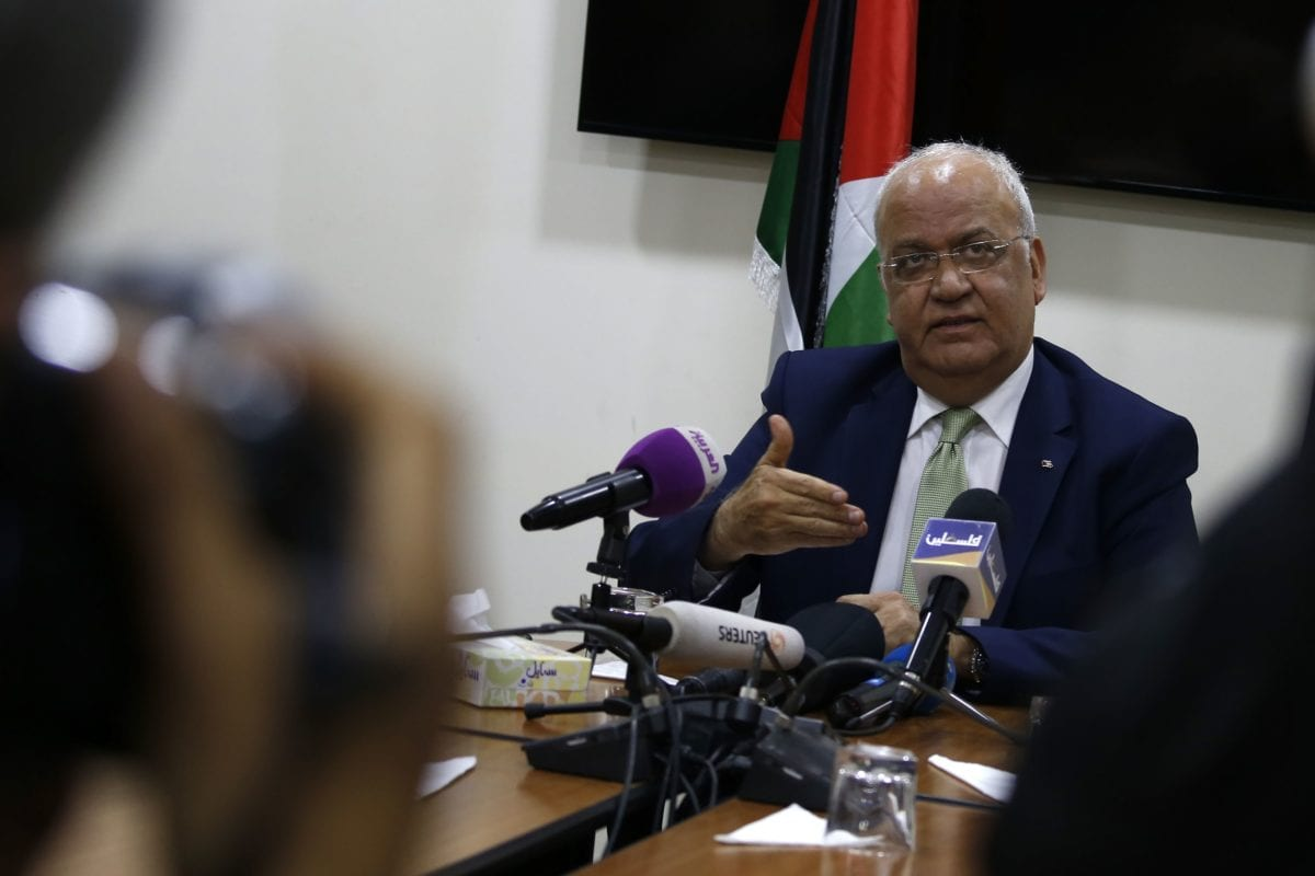 Saeb Erekat, secretary general of the Palestine Liberation Organisation (PLO), addresses the media following a meeting with Diplomats from contributing nations to the Temporary International Presence in Hebron (TIPH) in the West Bank city of Ramallah on 30 January 2019. [ABBAS MOMANI/AFP/Getty Images]