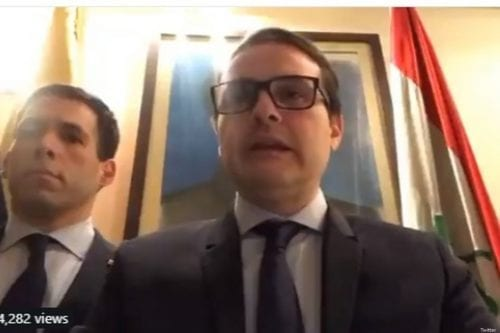 A screenshot of the video put out by Venezuelan ambassador to Iraq declaring his support for Guaido on 4 February 2019 [Twitter]