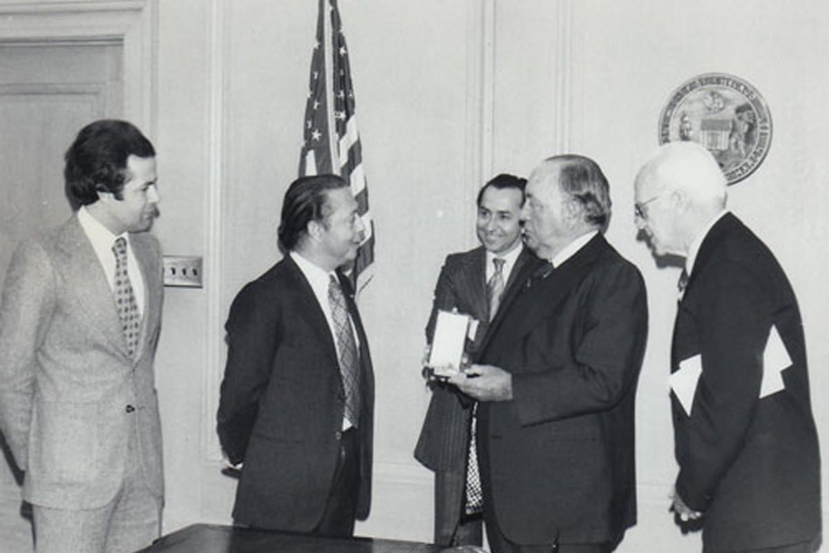 The Ambassador of Morocco (2nd from left) meets with Chicago Mayor Richard J. Daley (2nd from right) at Chicago City Hall in May 1976, Photo courtesy of Ray Hanania