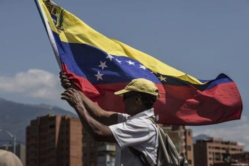 A Venezuela flag on 2 February, 2019 [Marcelo Perez Del Carpio/Anadolu Agency]