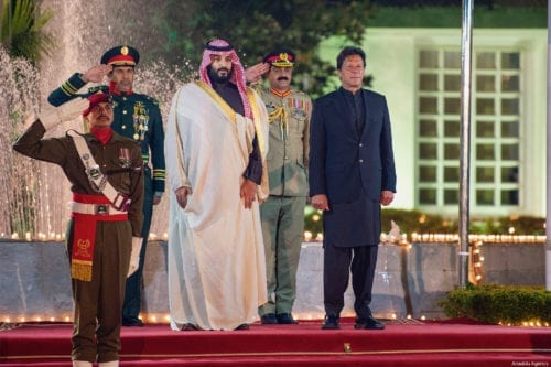 Crown Prince of Saudi Arabia Mohammad bin Salman is welcomed by Prime Minister of Pakistan Imran Khan ahead of their meeting in Islamabad, Pakistan on February 17, 2019 [Bandar Algaloud/Saudi Kingdom Council/Handout - Anadolu Agency]