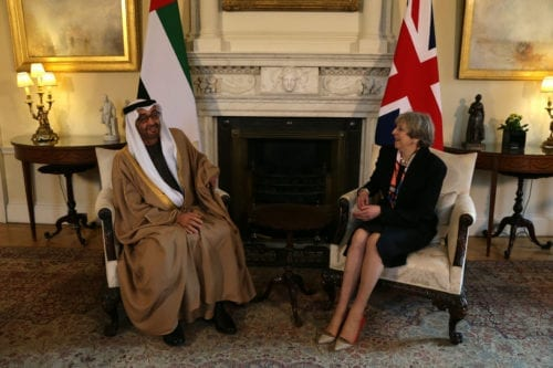 British Prime Minister Theresa May (R) speaks with Crown Prince of Abu Dhabi General Sheikh Mohammed Bin Zayed Al Nahyan during a meeting at 10 Downing Street in central London on 23 February 2017. [DANIEL LEAL-OLIVAS/AFP/Getty Images]