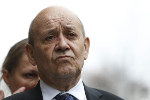 French Foreign Affairs Minister Jean-Yves Le Drian is seen during joint press conference with German Foreign Minister Heiko Maas (not seen) after their meeting in Berlin, Germany on 27 March, 2019 [Abdülhamid Hoşbaş/Anadolu Agency]