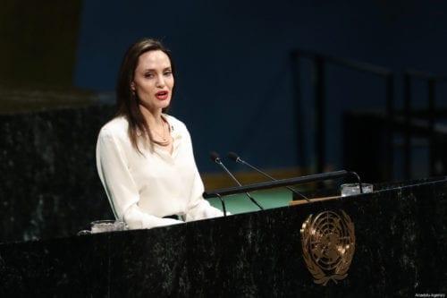 Actress and UNHCR Special Envoy Angelina Jolie, delivers a speech UN Headquarter in New York, US on 29 March 2019 [Atılgan Özdil/Anadolu Agency]