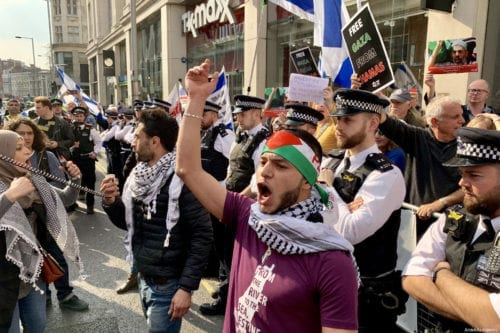 "LONDON, UNITED KINGDOM - MARCH 30: Hundreds of protesters gather in front of the Israeli Embassy in central London in solidarity with Palestinian people who are holding large ""Great March of Return"" and ""Palestinian Land Day"" rallies across Gaza border, in London, United Kingdom on March 30, 2019. ( Hasan Esen - Anadolu Agency )"