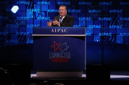 US Secretary of State Mike Pompeo speaks at the annual American Israel Public Affairs Committee (AIPAC) conference on 25 March, 2019 in Washington DC [Mark Wilson/Getty Images]