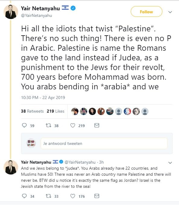Netanyahu's son was mocked after racist Twitter rant against Palestinians [Twitter]