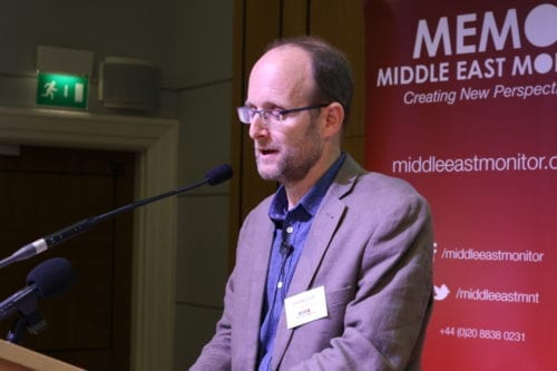 Jonathan Cook at MEMO's 'Present Absentees: Palestinian Citizens of Israel & the Nation-State Law' conference held in London on April 27, 2019 [Middle East Monitor]