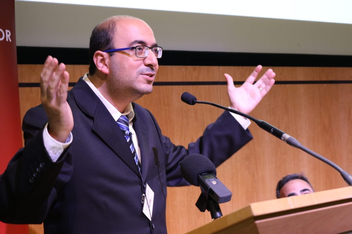 Sami Abu Shehadeh addresses MEMO's 'Present Absentees: Palestinian Citizens of Israel & the Nation-State Law' conference held in London on April 27, 2019 [Middle East Monitor]