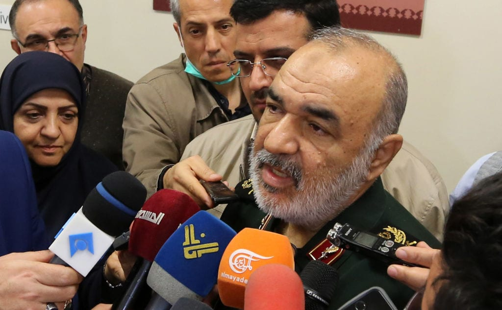 Brigadier General Hossein Salami, Major General of Iran's Islamic Revolutionary Guard Corps, speaks to journalists during a conference on the approaching 40th anniversary of the Islamic Revolution in the capital Tehran on 29 December, 2018 [ATTA KENARE/AFP/Getty Images]