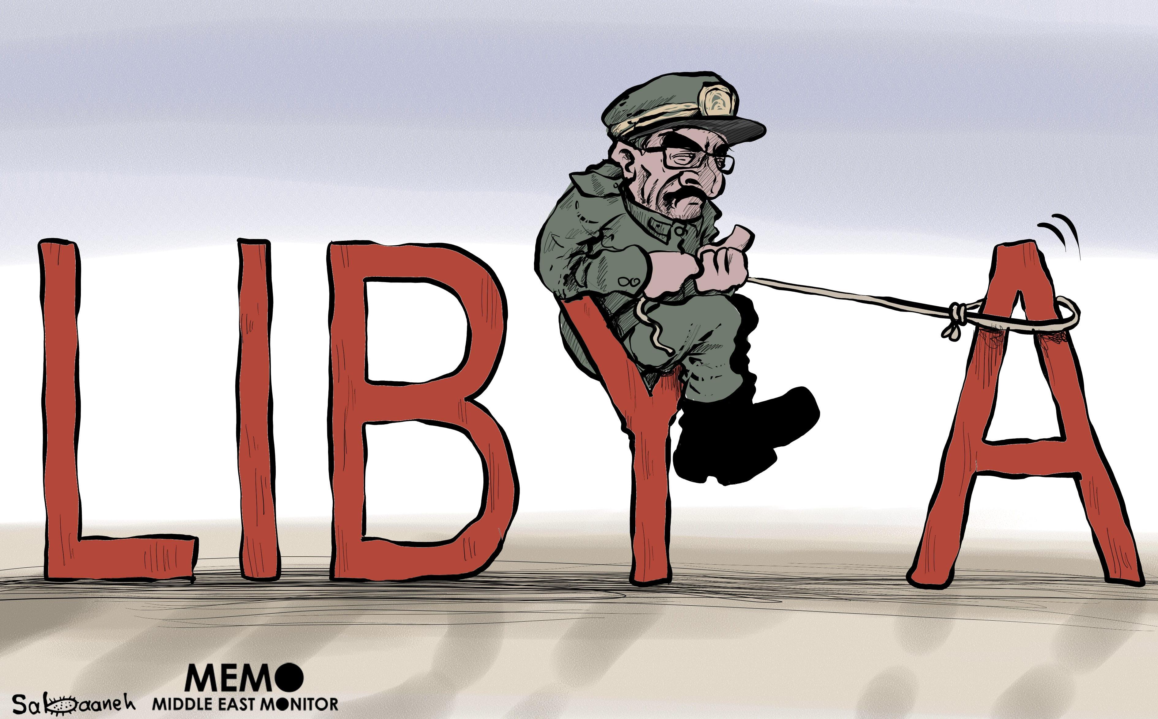 General Khalifa Haftar taking over Libya - Cartoon [Sabaaneh/MiddleEastMonitor]