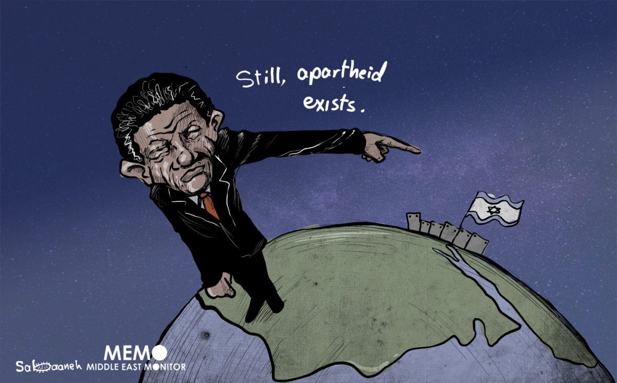 South Africa stands with Palestine - Cartoon [Sabaaneh/MiddleEastMonitor]