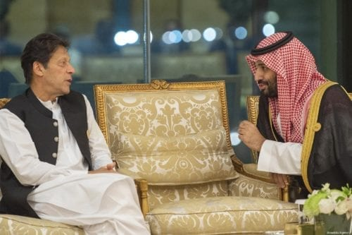 Crown Prince of Saudi Arabia Mohammad Bin Salman Al Saud (R) talks with Prime Minister of Pakistan, Imran Khan (R) ahead of the 14th Islamic Summit of the Organization of Islamic Cooperation (OIC) in Mecca, Saudi Arabia on 1 June 2019. [BANDAR ALGALOUD / SAUDI KINGDOM COUNCIL / HANDOUT - Anadolu Agency]
