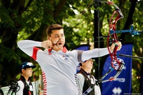 Suleyman Araz member of the Turkish Compound Men's Team compete at 2019 Hyundai World Archery Championships in Netherlands on 15 June 2019 [Abdullah Aşıran/Anadolu Agency]