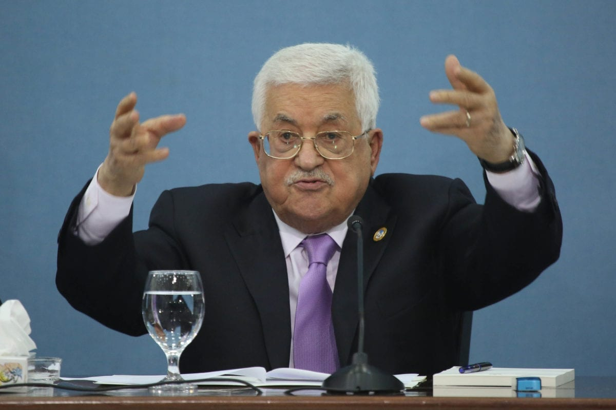 Palestinian President Mahmoud Abbas holds a press conference at the Presidency Building in Ramallah, West Bank on 3 July 2019. [Issam Rimawi - Anadolu Agency]