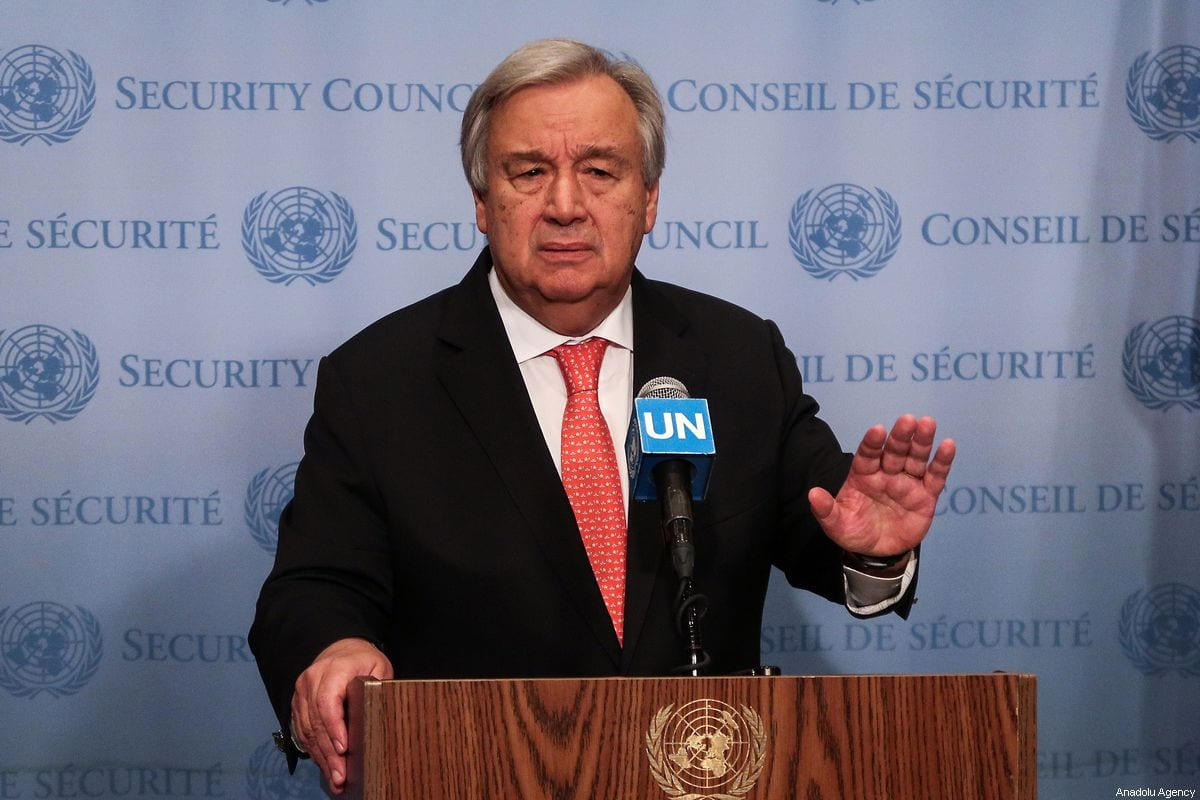 United Nations Secretary General Antonio Guterres holds a press conference at the United Nations Headquarters in New York, United States on 1 August 2019 [Atılgan Özdil/Anadolu Agency]