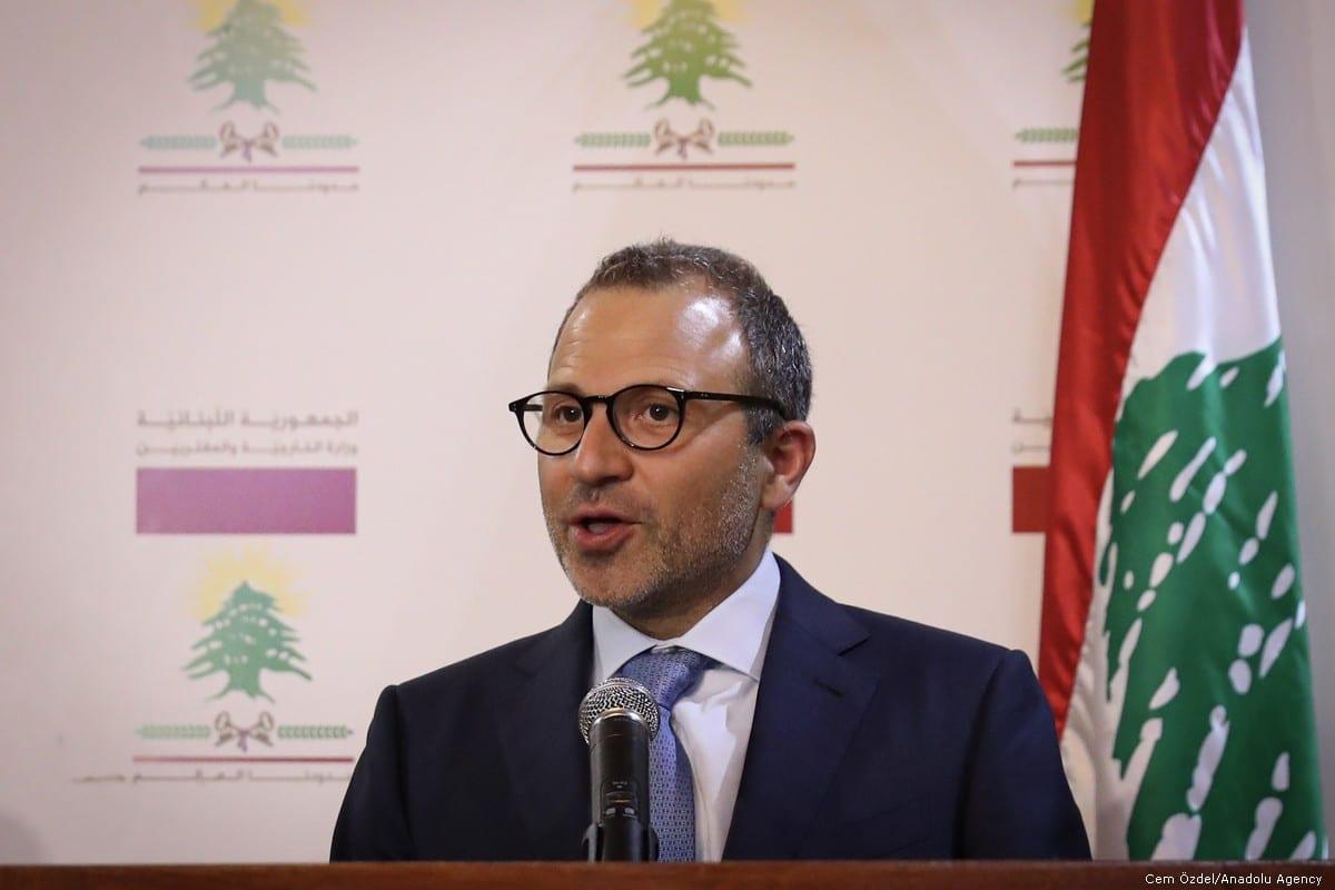 Minister of Foreign Affairs of Lebanon, Gebran Bassil in Beirut, Lebanon on 23 August 2019 [Cem Özdel/Anadolu Agency]