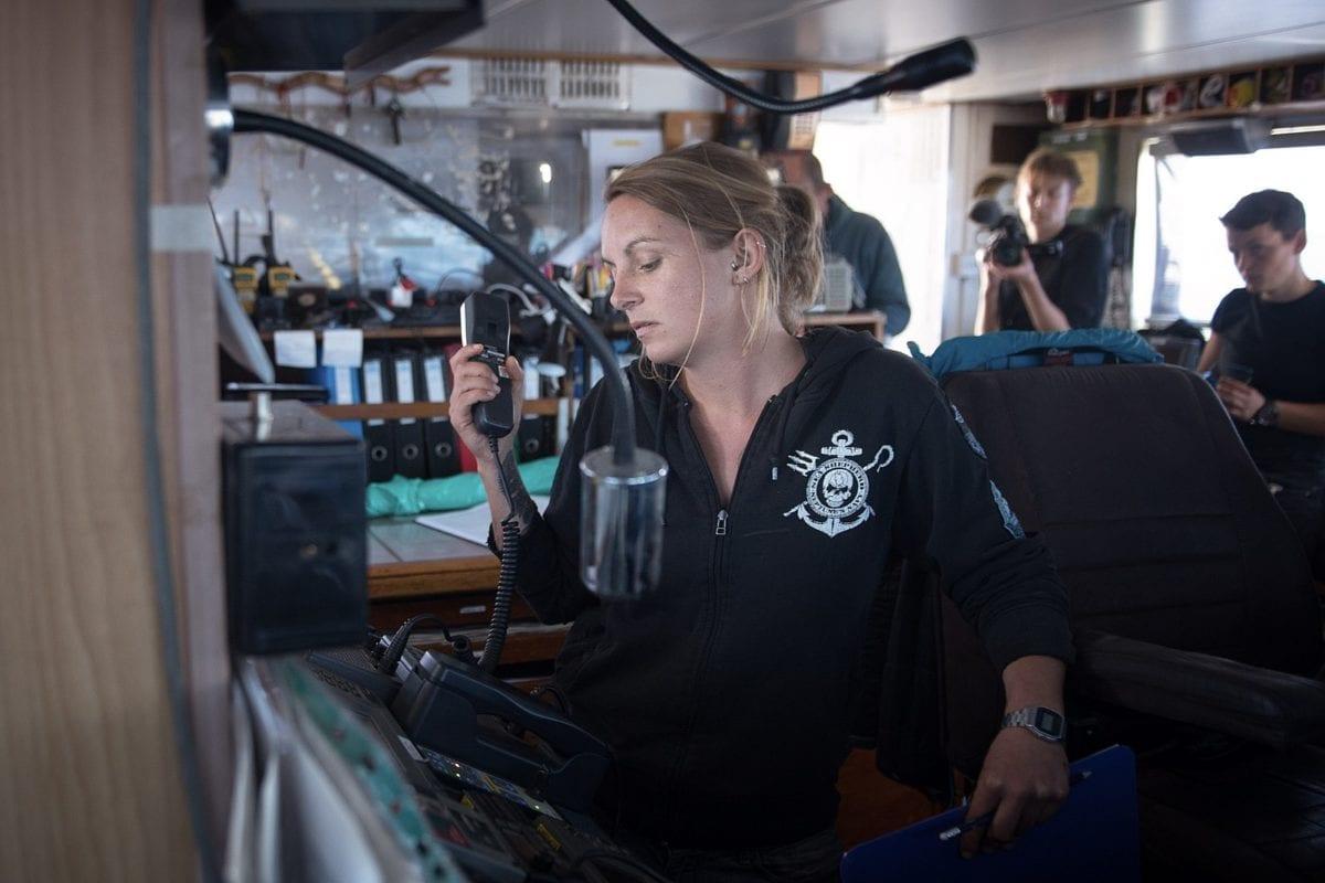 German ship captain Pia Klemp on the bridge of Sea-Watch 3 [Wikipedia]