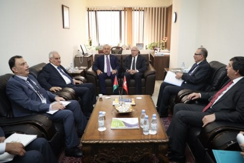 Foreign Minister of Turkey Mevlut Cavusoglu (C-L) meets Palestinian Foreign Minister Riyad al-Maliki (C-R) ahead of Extraordinary Meeting of Council of Foreign Ministers of Organization of Islamic Cooperation, in Jeddah, Saudi Arabia on 15 September 2019. [Cem Özdel - Anadolu Agency]