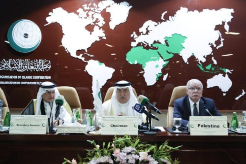 Palestinian Foreign Minister Riyad al-Maliki (R) attends Extraordinary Meeting of Council of Foreign Ministers of Organization of Islamic Cooperation, in Jeddah, Saudi Arabia on 15 September 2019. [Cem Özdel - Anadolu Agency]