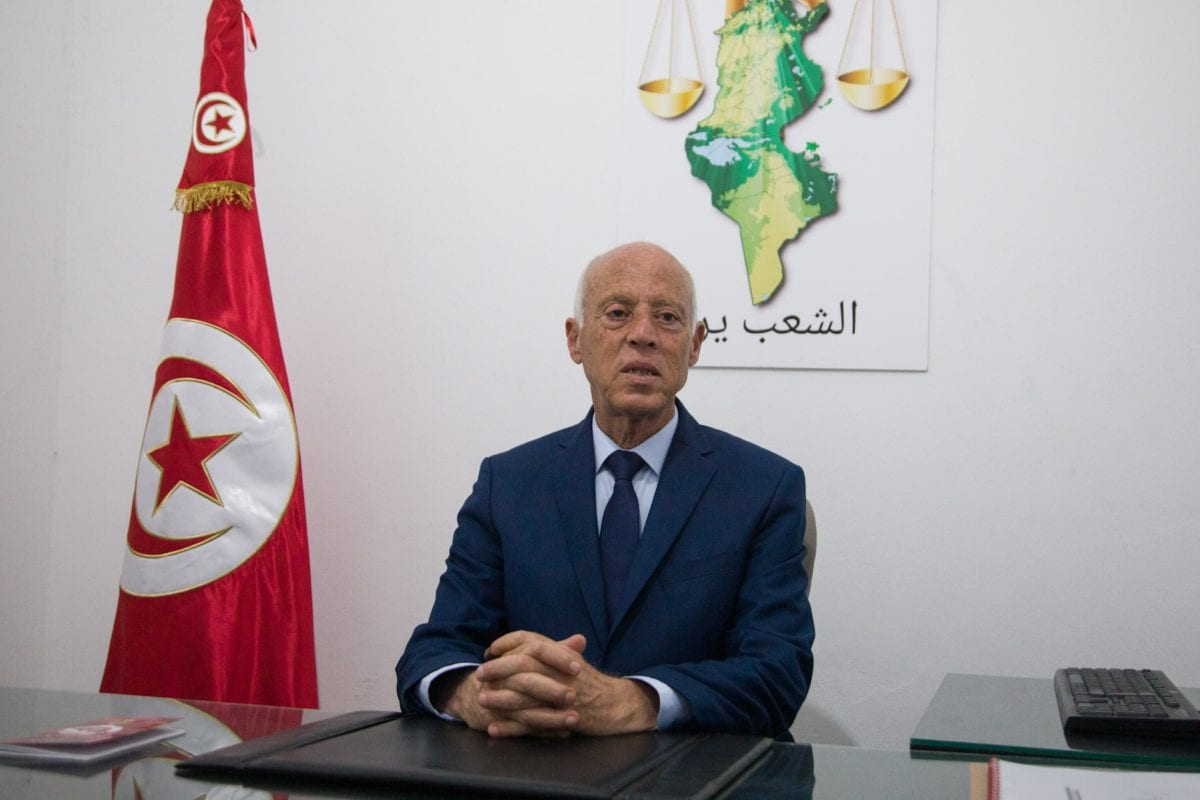Presidential candidate Kais Saied makes a speech as he wins the presidential election according to unofficial results in Tunis on 15 September 2019. [Nacer Talel - Anadolu Agency]