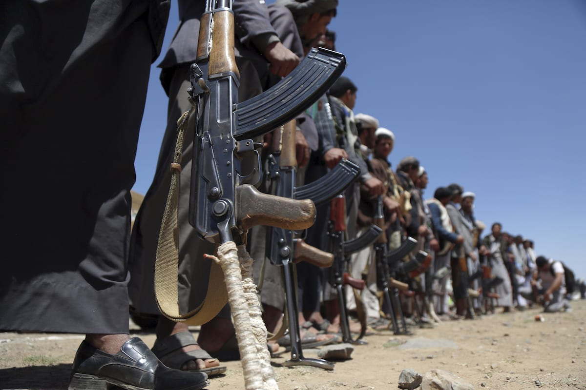 Supporters of Houthis participate in march on the occasion of the fifth anniversary of Houthis' control of the Yemeni capital Sanaa, on 21, 2019. [Mohammed Hamoud - Anadolu Agency]