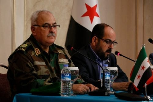 Syrian Interim Government Head Abdurrahman Mustafa (R) and Syrian Interim Government Defense Minister Salim Idris (L) hold a press conference on the decision of Operation Euphrates Shield region, Operation Olive Branch region and Idlib forces would linked up with Syrian Interim Government Defense Ministry with the name of National Army in Sanliurfa, Turkey on 4 October 2019. [Eşber Ayaydın - Anadolu Agency]