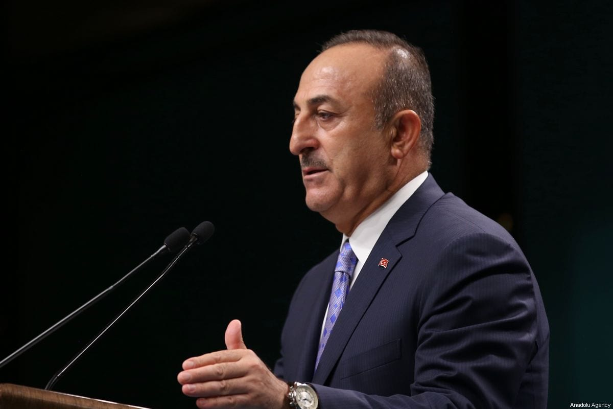 Turkish Foreign Minister Mevlut Cavusoglu makes a speech as he holds a press conference at the Presidential Complex in Ankara, Turkey on October 17, 2019. [Fatih Aktaş - Anadolu Agency]