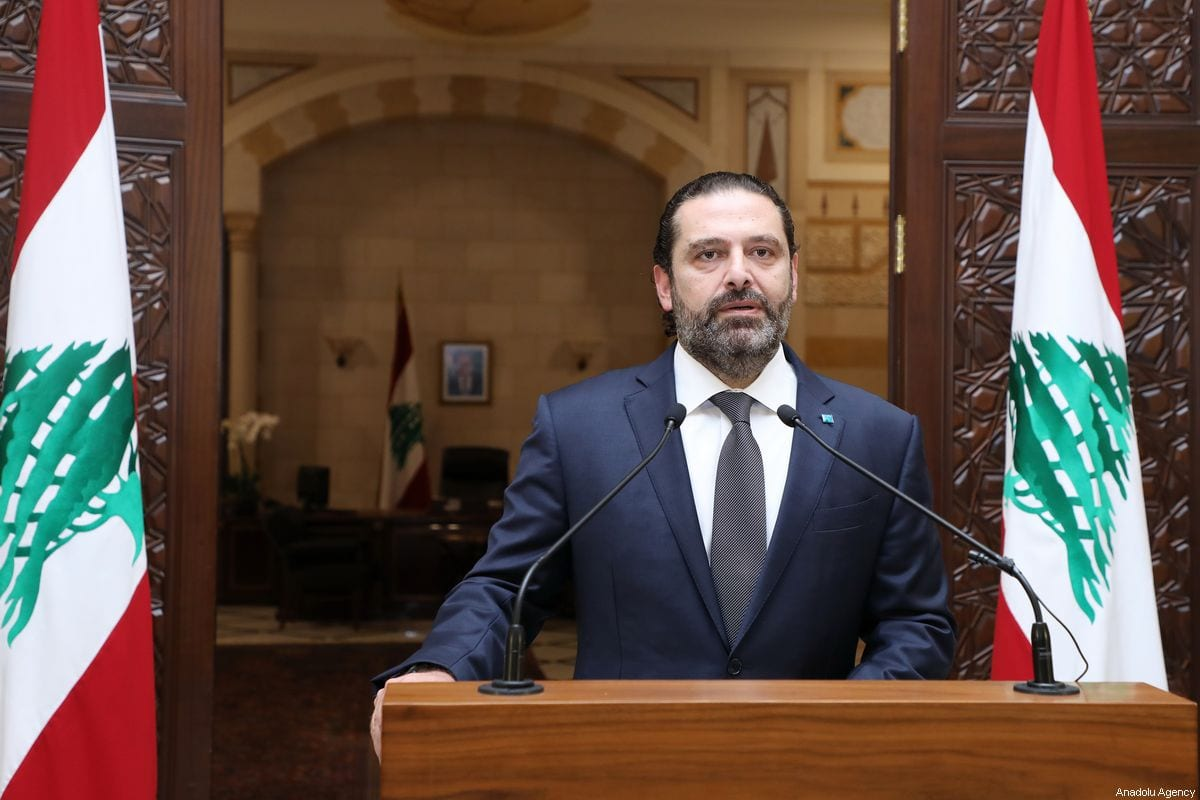 Lebanese Prime Minister Saad Hariri holds a press conference over the ongoing protests against the government in Beirut, Lebanon on 18 October 2019. [LEBANESE PRIME MINISTRY OFFICE / HANDOUT - Anadolu Agency]
