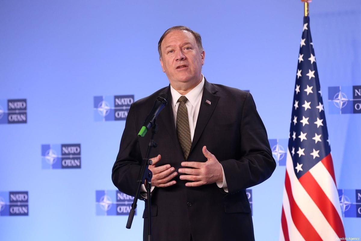 US Secretary of State Mike Pompeo in Brussels, Belgium on 18 October 2019 [Dursun Aydemir/Anadolu Agency]