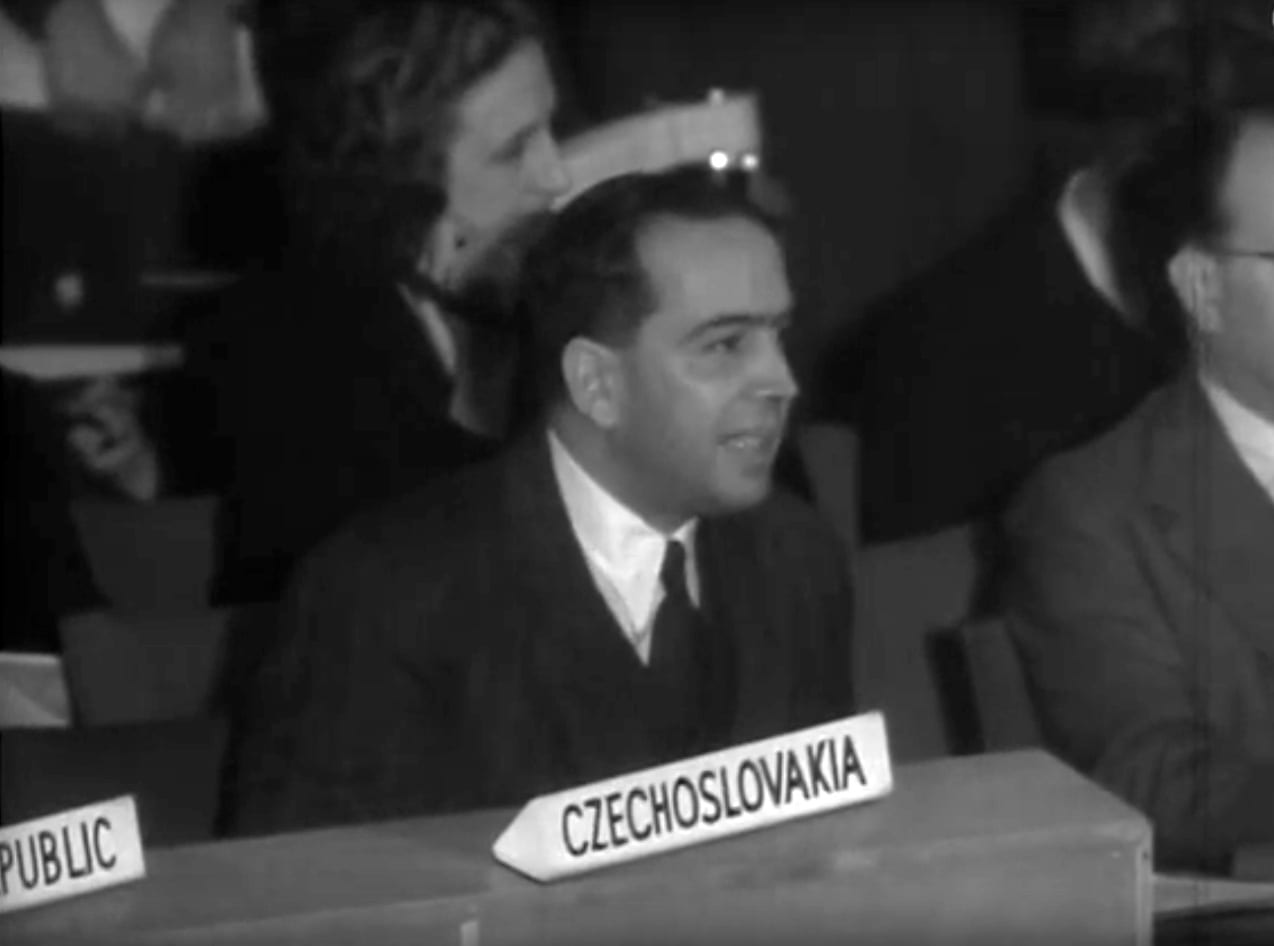 Henry Kattan, speaking at the UN on behalf of the Arab Higher Committee, arguing for Palestinian independence.