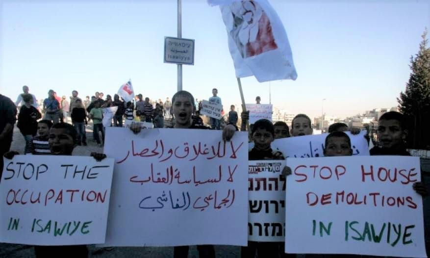 Palestinian citizens protest against the continuous Israeli aggression in Issawiya, Jerusalem on 12 November 2019