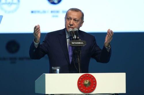 President of Turkey Recep Tayyip Erdogan speaks at the opening ceremony for the week of Mawlid al-Nabi (the birth of prophet Mohammad) in Istanbul, Turkey on 8 November 2019. [Arif Hüdaverdi Yaman - Anadolu Agency]