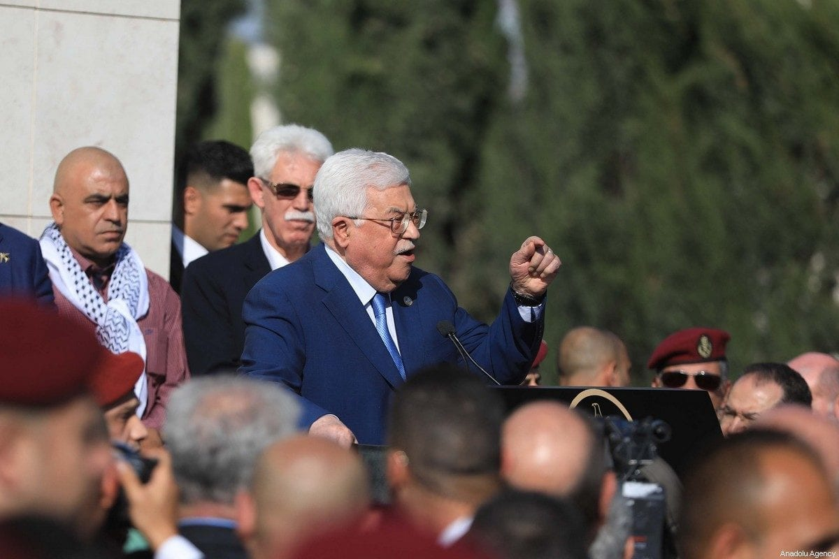 Palestinian President Mahmoud Abbas makes a speech as he attends a commemoration ceremony held to mark the 15th anniversary of former Palestinian leader Yasser Arafat's death, at Mausoleum of Yasser Arafat in Ramallah, West Bank on 11 November 2019. [Issam Rimawi - Anadolu Agency]