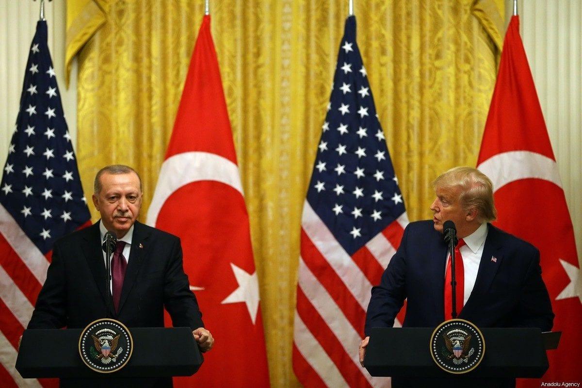 WASHINGTON, USA - NOVEMBER 13: President of Turkey, Recep Tayyip Erdogan and U.S. President Donald Trump hold a joint press conference following their meeting at the White House in Washington, United States on November 13, 2019. ( Halil Sağırkaya - Anadolu Agency )