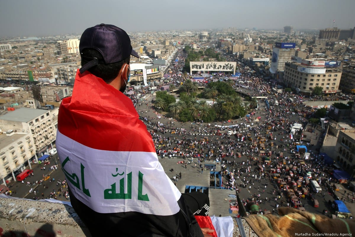 Iraqis protest for economic reforms in Baghdad, Iraq Baghdad on 3 November 2019 [Murtadha Sudani/Anadolu Agency]