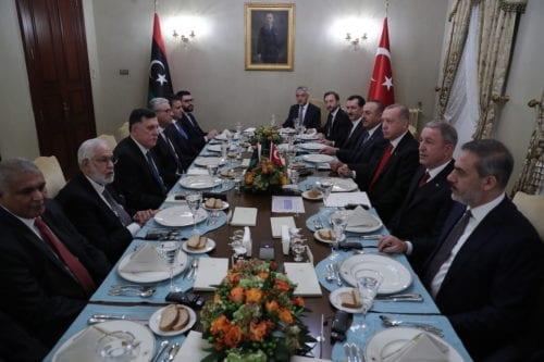 President of Turkey Recep Tayyip Erdogan (3rd R) meets the chairman of thee Presidential Council of Libya Fayez Al-Sarraj (3rd L) at Dolmabahce Office in Istanbul, Turkey on 27 November 2019. [Mustafa Kamacı - Anadolu Agency]