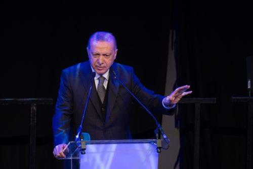 President of Turkey, Recep Tayyip Erdogan speaks during a meeting with representatives of Turkish community at a special event at Old Billingsgate building in London, United Kingdom on 4 December 2019. [Mehmet Ali Özcan - Anadolu Agency]