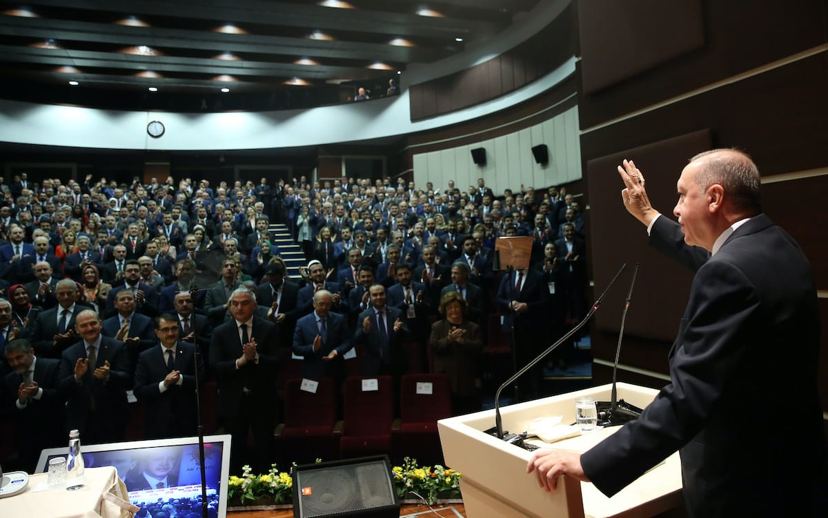 Turkey's President and leader of Turkey's ruling Justice and Development (AK) Party Recep Tayyip Erdogan attends meeting of provincial heads at headquarters of AK Party, on 26 December 2019 in Ankara, Turkey. [Murat Kula - Anadolu Agency]