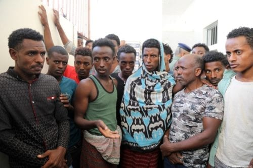rregular African migrants are seen at a prison in Taizz, Yemen on December 25, 2019 [Abdulnaser Alseddik/Anadolu Agency]