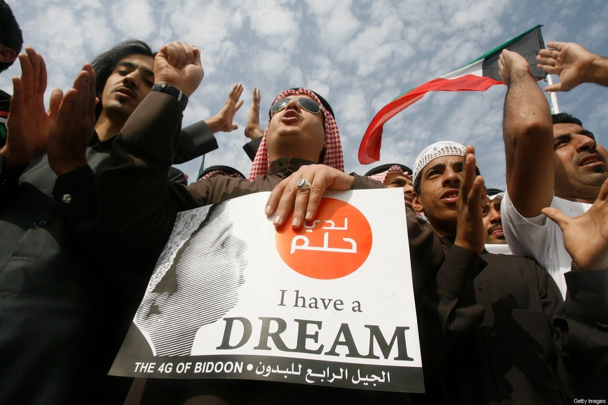 Stateless Arabs, known as bidoon, protest to demand citizenship and other rights in Jahra, 50 km northwest of Kuwait City, on January 6, 2012 [YASSER AL-ZAYYAT/AFP/GettyImages]