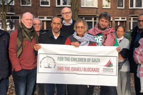 Members of the International Coalition of the Freedom Flotilla in the Dutch city of Rotterdam on 1 December 2019