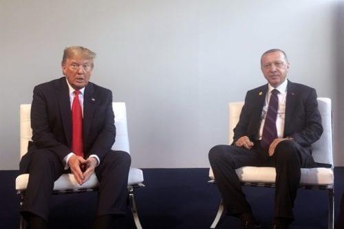 President of Turkey Recep Tayyip Erdogan (R) meets US President Donald Trump during the NATO Leaders' Summit in London UK on 4 December 2019 [Turkish Presidency/Anadolu Agency]
